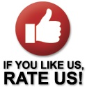 red button with thumbs up icon that says if you like us please rate us