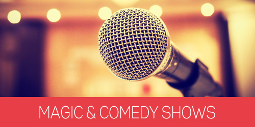 Photo of a microphone with text under it that says Magic & Comedy Shows