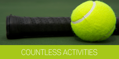 Photo of a tenis ball and tenis racquet handle with text under it that says countless activities