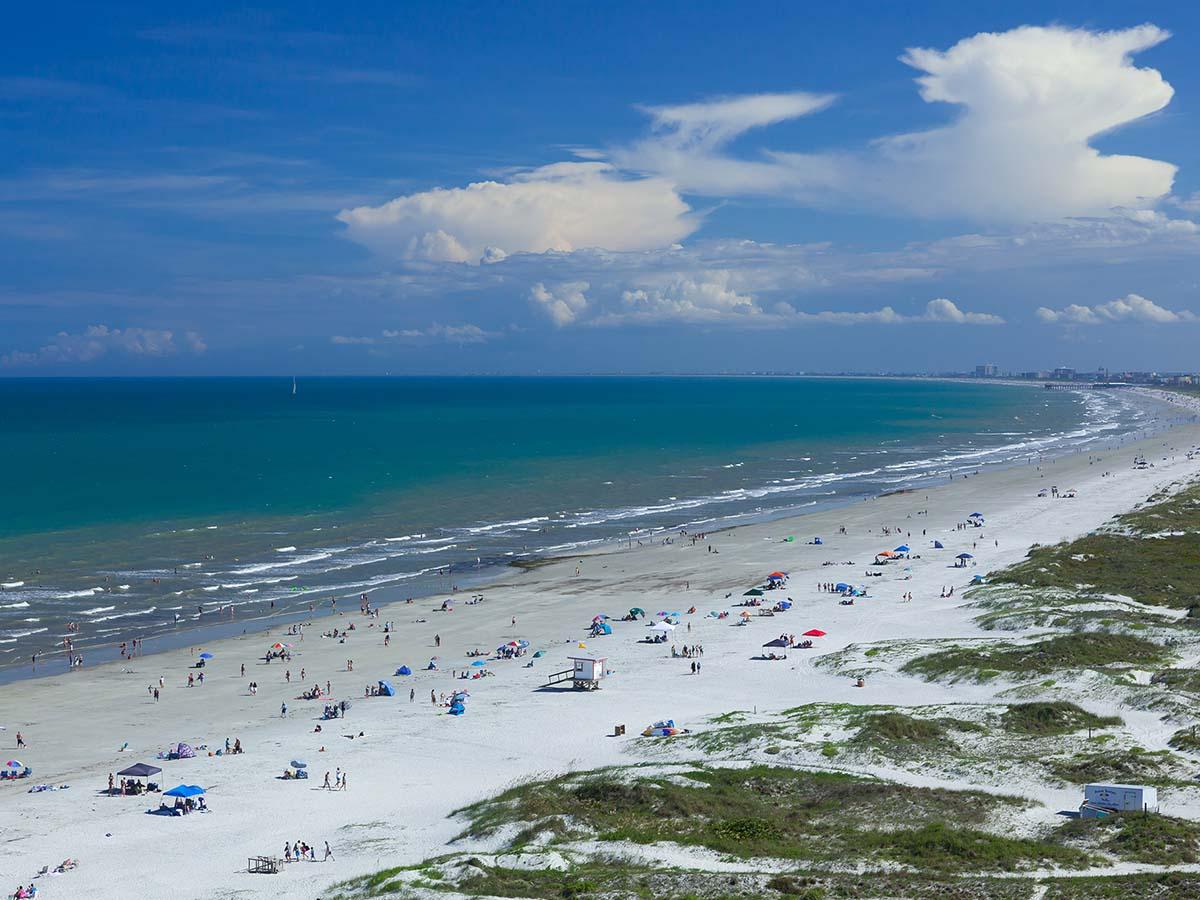 Birds eye view of Cocoa Beach, FL.